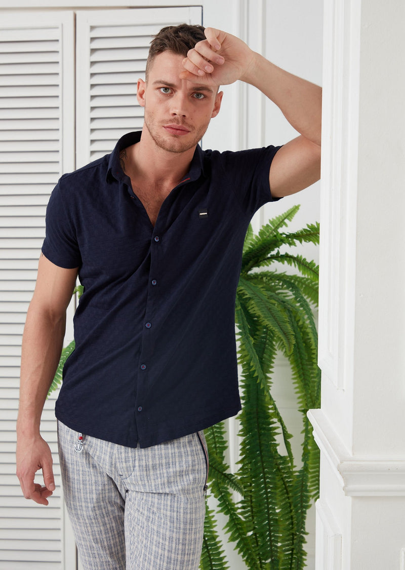 Navy Checker Knit Short Sleeve Shirt