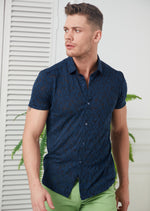 Navy Burnout Short Sleeve Shirt