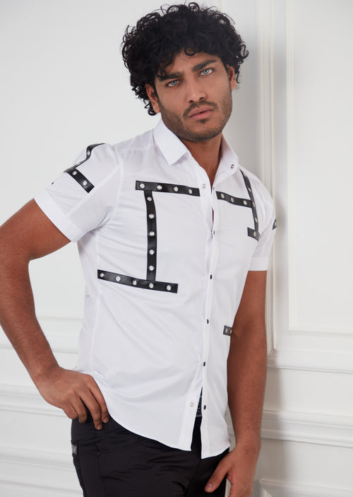 White Eyelet Leather Short Sleeve Shirt