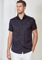 Navy Buckle Detailed Short Sleeve Shirt