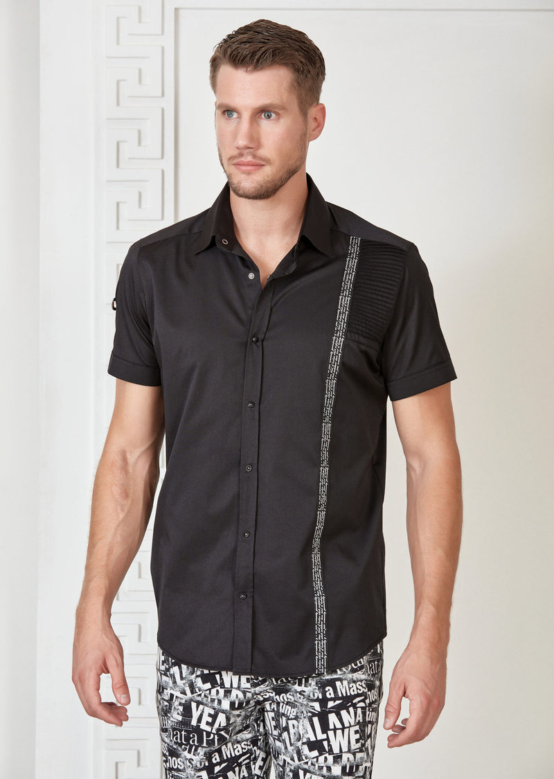 Black Quilted Ribbon Short Sleeve Shirt
