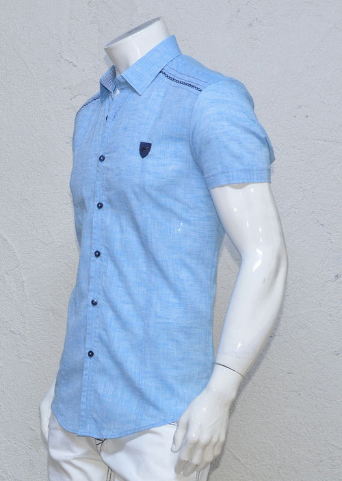 Baby Blue Linen Short Sleeve Shirt
