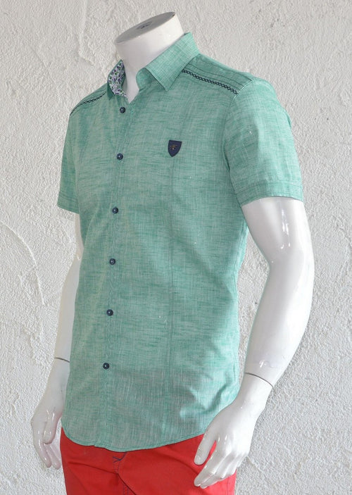 Green Linen Short Sleeve Shirt