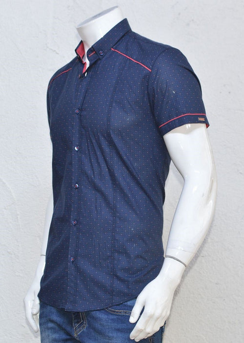 Navy Red Trim Short Sleeve Shirt