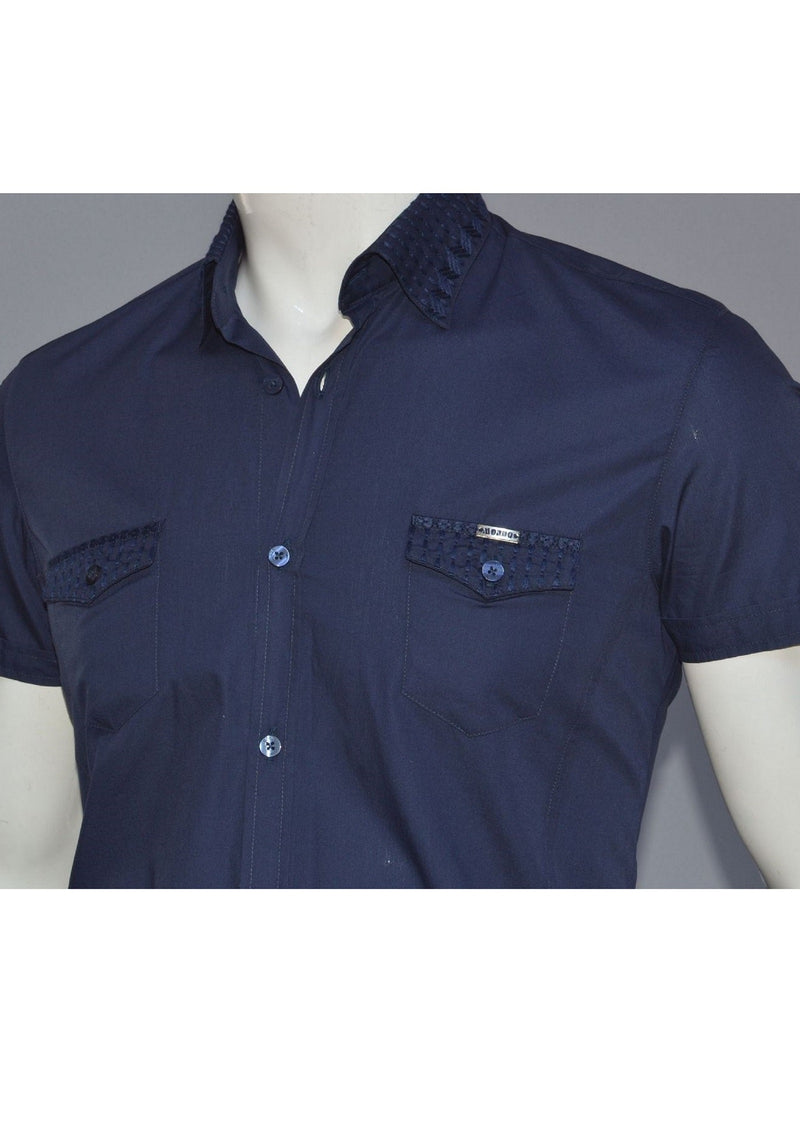 Navy Embroidery Collar Short Sleeve Shirt