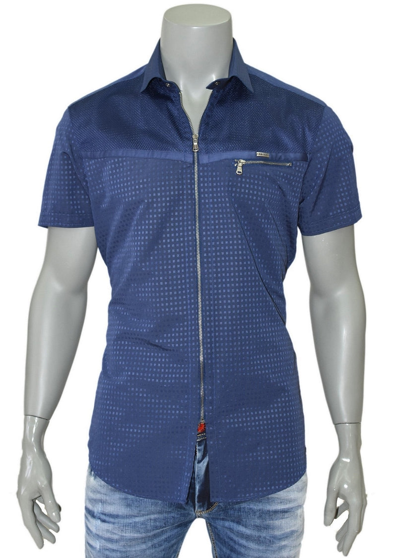 Navy Jacquard Zipper Short Sleeve Shirt