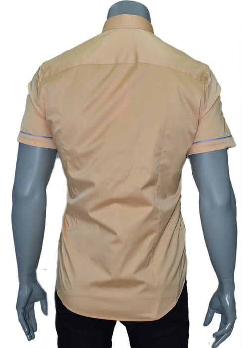 Yellow Zip Detailed Short Sleeve Shirt