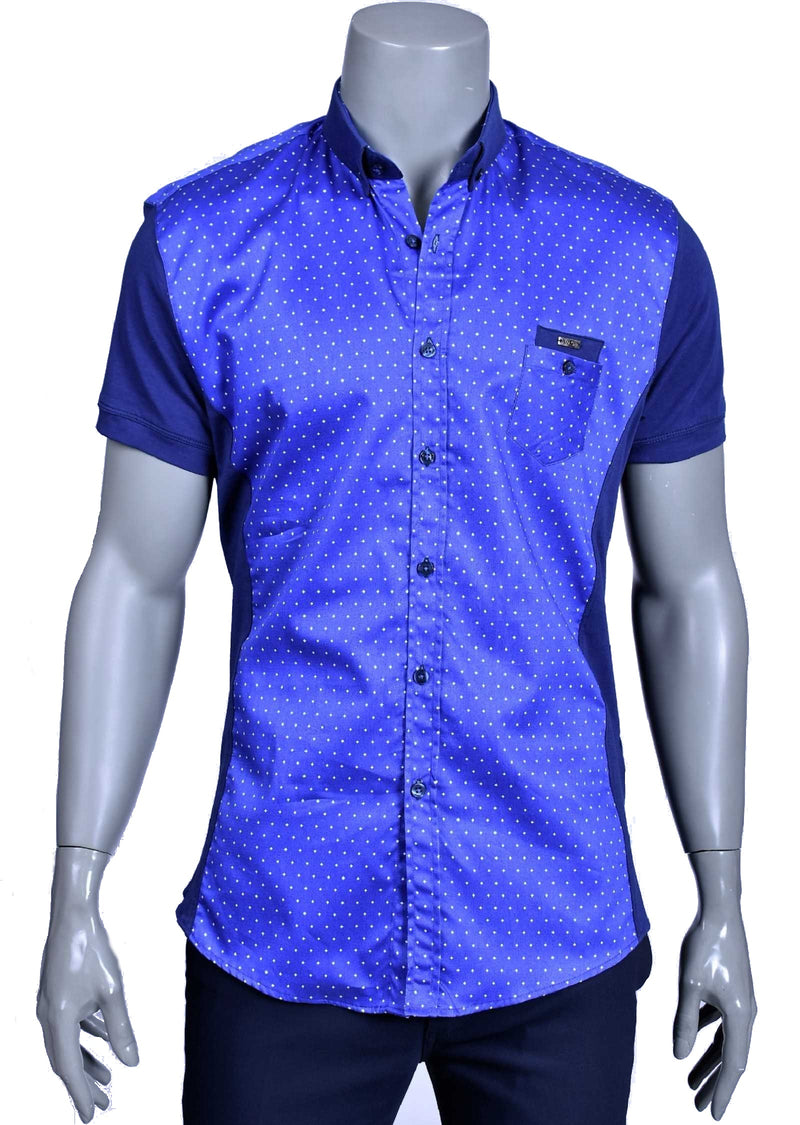 Blue Micro Polkadot Short Sleeve Shirt