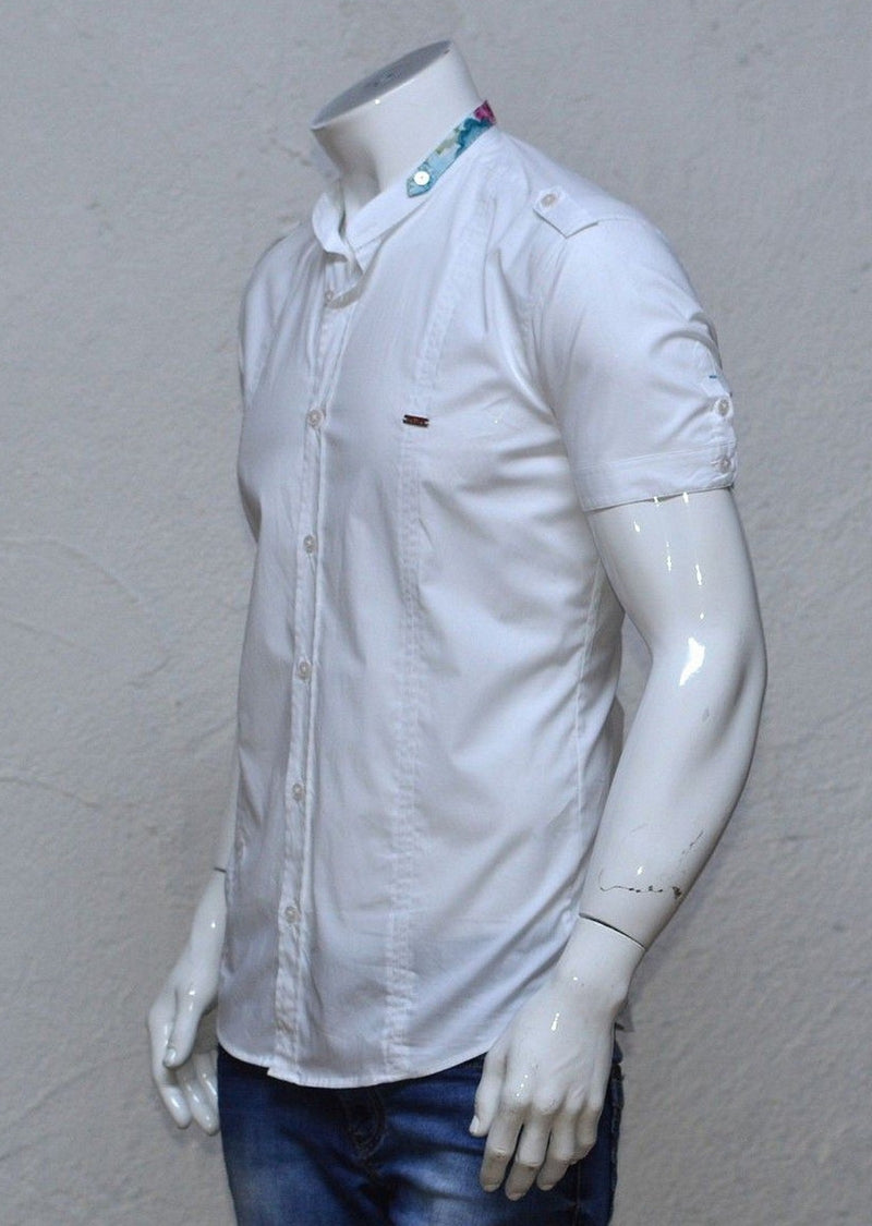 White Mandarin Collar Short Sleeve Shirt