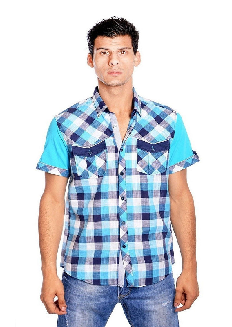 Blue Plaid Short Sleeve Shirt