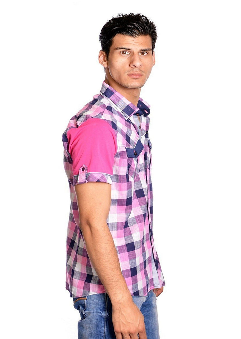 Pink Plaid Short Sleeve Shirt