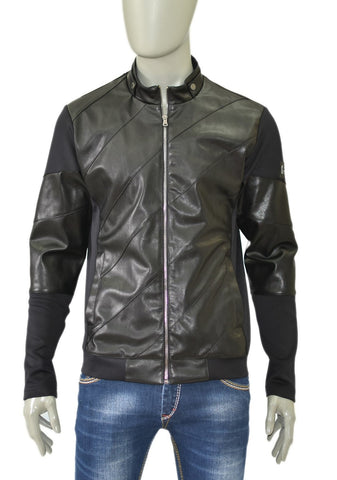 BLACK TECHNO/PU LEATHER ZIPPER JACKET