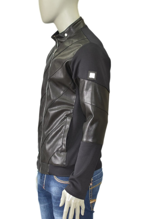 Black Techno Pu Leather Jacket