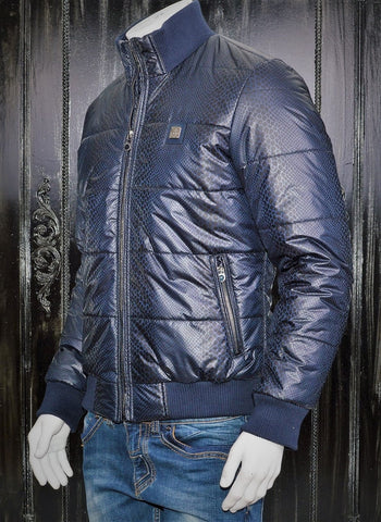 BLUE BANDED ZIP UP PADDED JACKET
