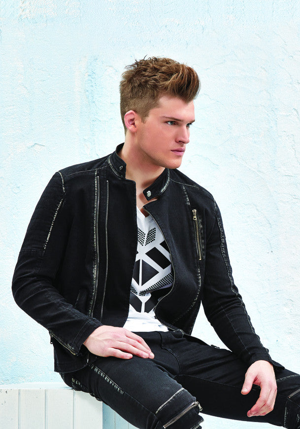Black sports jacket with jeans