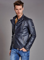 Navy Studded Pu Leather Biker Jacket