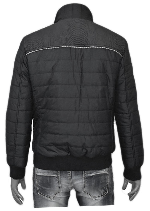 "Black ""Alligator"" Pu Leather Nylon Jacket"