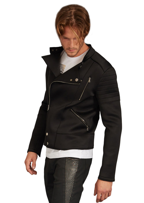 Black Zipper Quilted Jacket