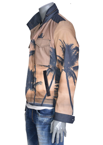 BROWN PALM PRINT JACKET