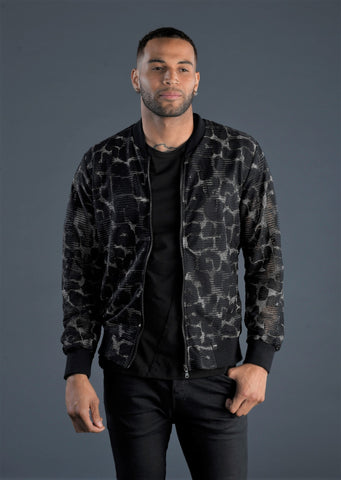 "Black Silver ""Aronne"" Sequin Bomber Jacket"