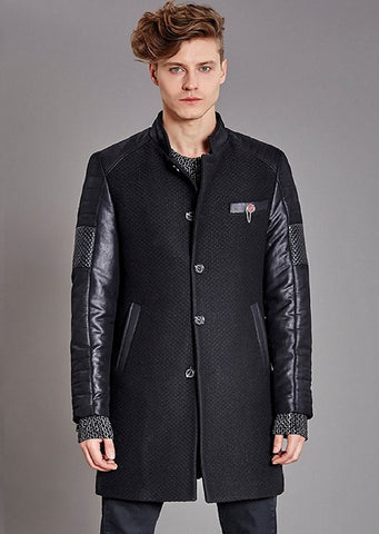 Navy Wool-Cotton Hooded Coat