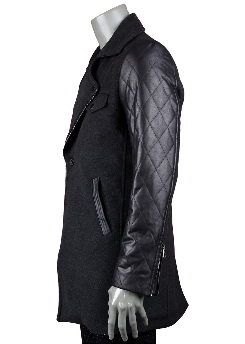 Black Double Breast Quilted Coat