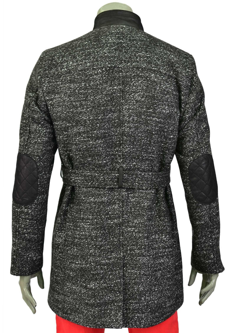 Dark Gray Pu Leather Quilted Coat