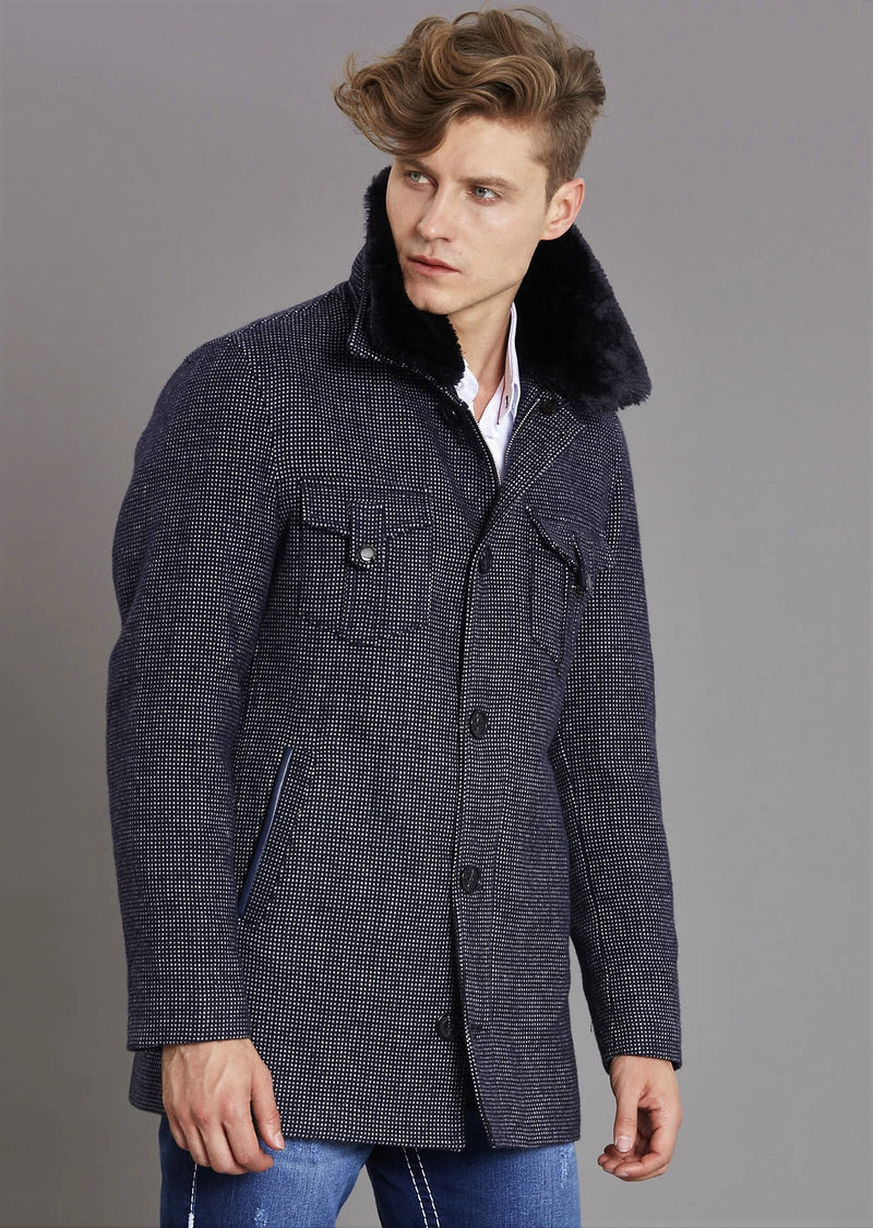 Dark Navy Double Flap Pocket Coat