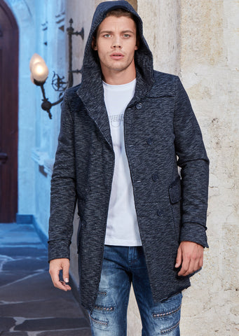 Navy Two-Tone Hooded Cardigan