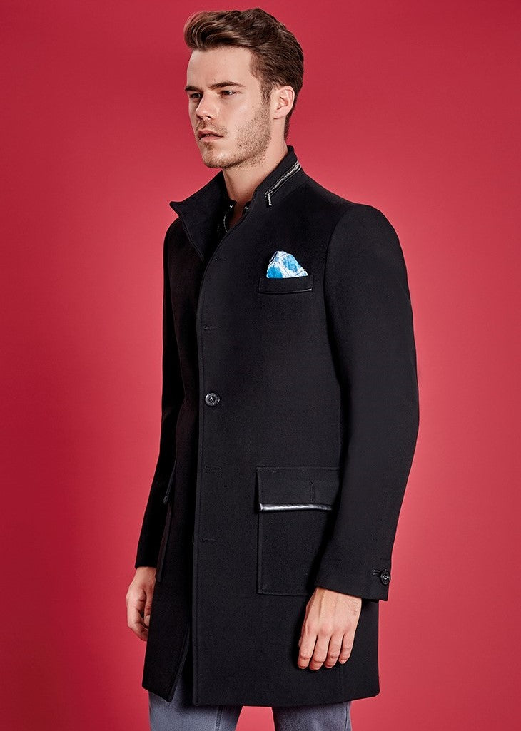 Black Wool-blend Zipper Coat