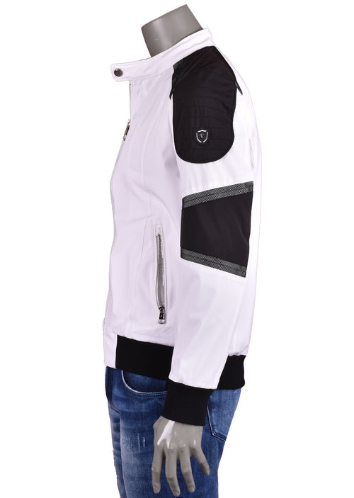 "White ""Colorblock"" Bomber Jacket"