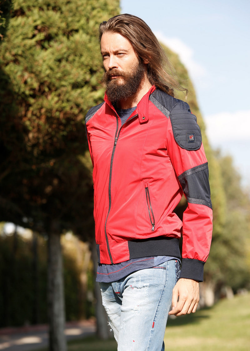 "Red ""Colorblock"" Bomber Jacket"