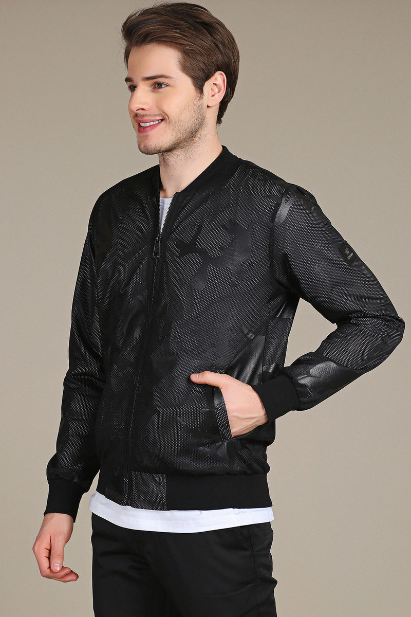 Black Mesh Camo Tech Zipper Jacket