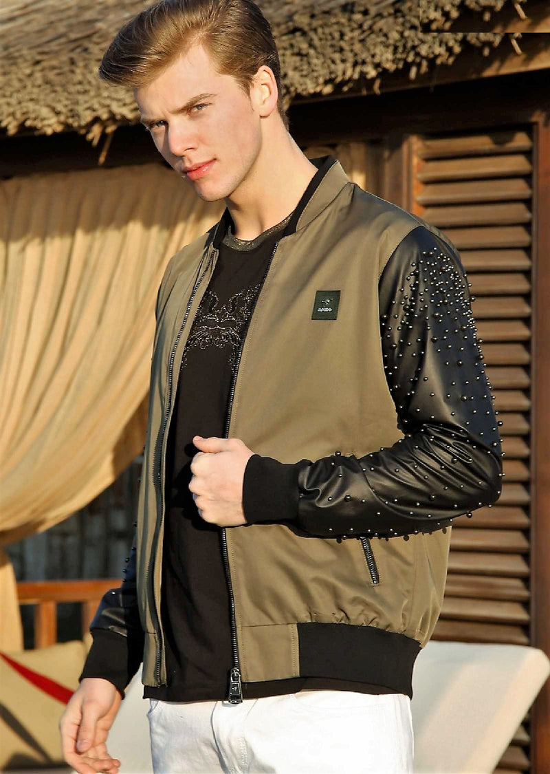 "Green ""Arsenio"" Studded Bomber Jacket"