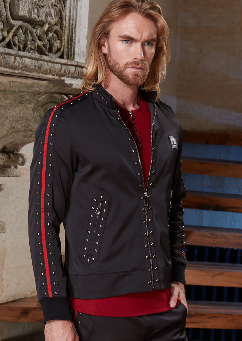Black Red Stripe Stud Embellished Jacket