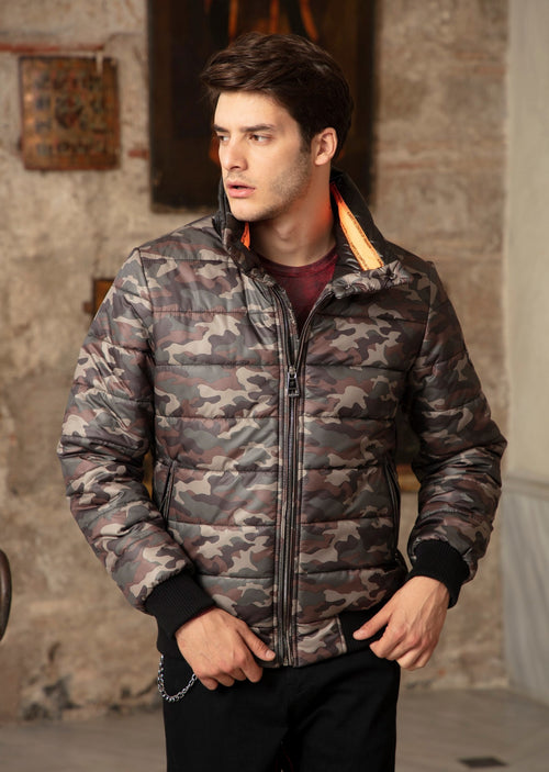 Green Camouflage Puffer Jacket
