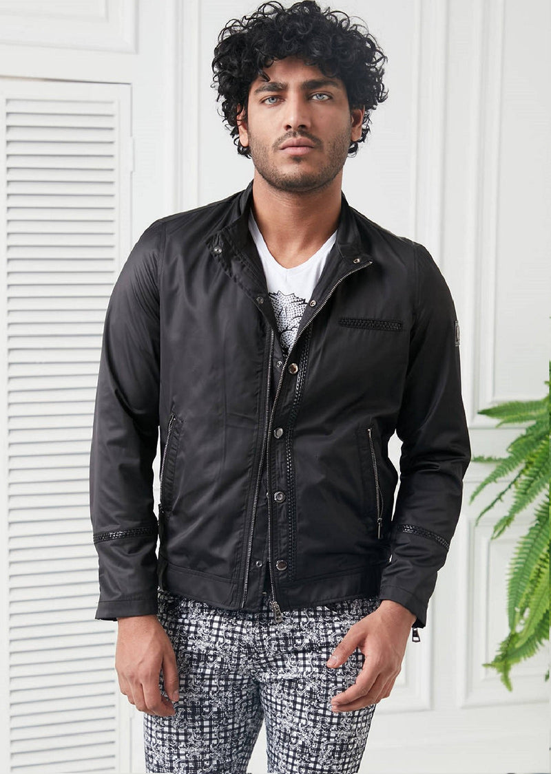 Black Leather Trim Zipper Jacket