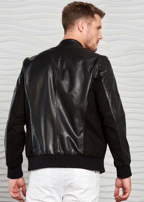 Black Band Collar Pu Leather Jacket