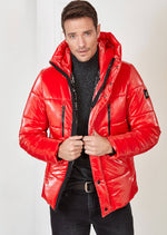 Red Hooded Puffer Jacket