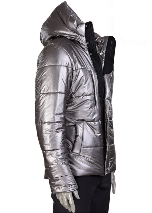 Metallic Silver Hooded Puffer Jacket