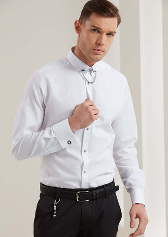 White Metal Pin Collar Long Sleeve Shirt
