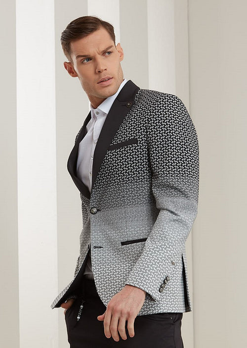 Black Micro Pattern Degraded Blazer