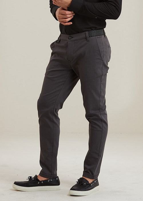 Gray Ribbon Waist Band Stretch Pants