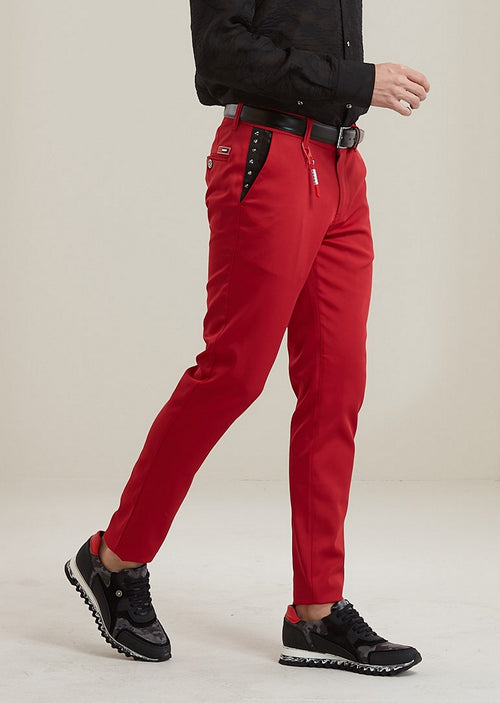 "Red ""Star Studded"" Tech Stretch Fit Pants"