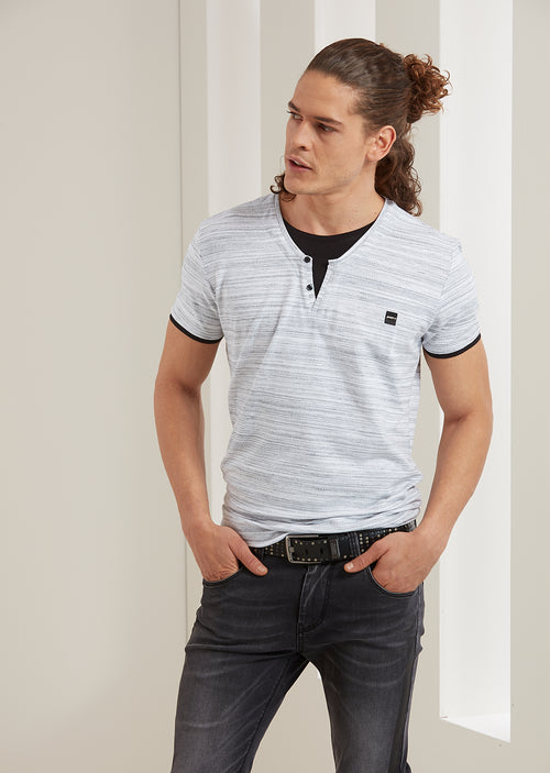 White Gray Double Layer V-neck Tee
