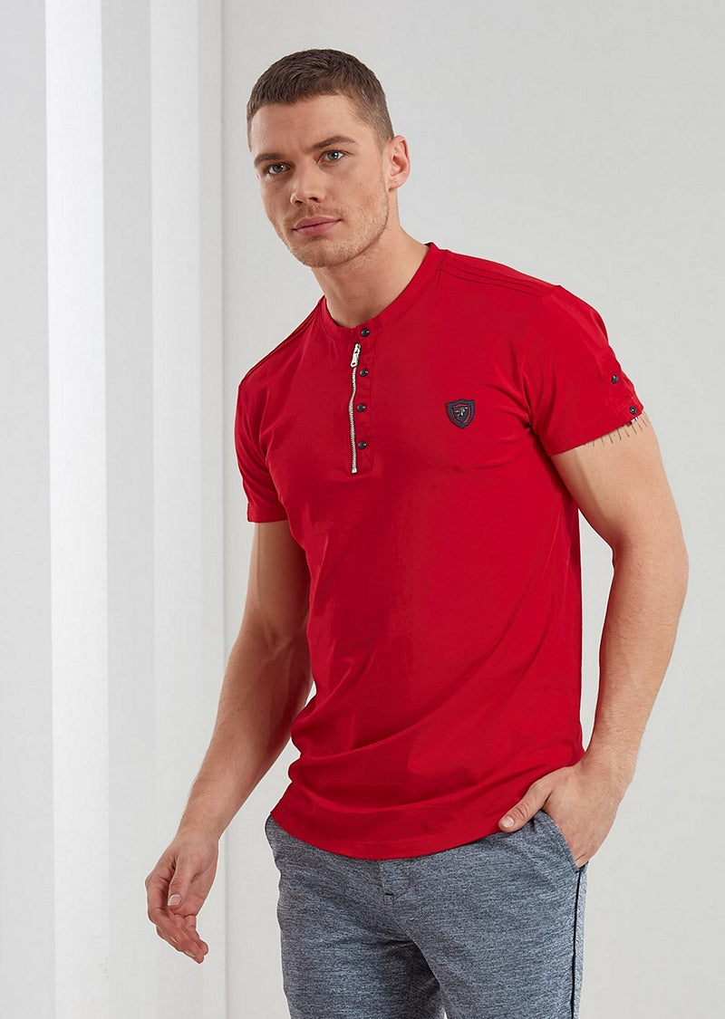 Red Snap-Zipper Tee