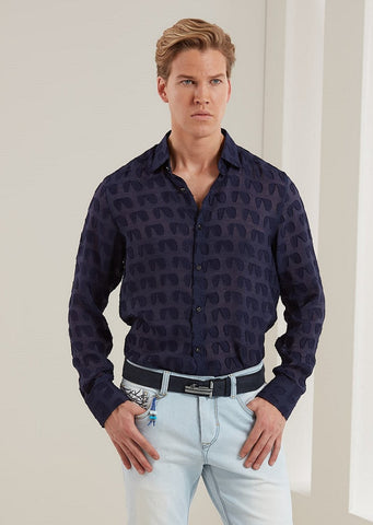 "Navy Sheer ""Luici"" Long Sleeve Shirt"