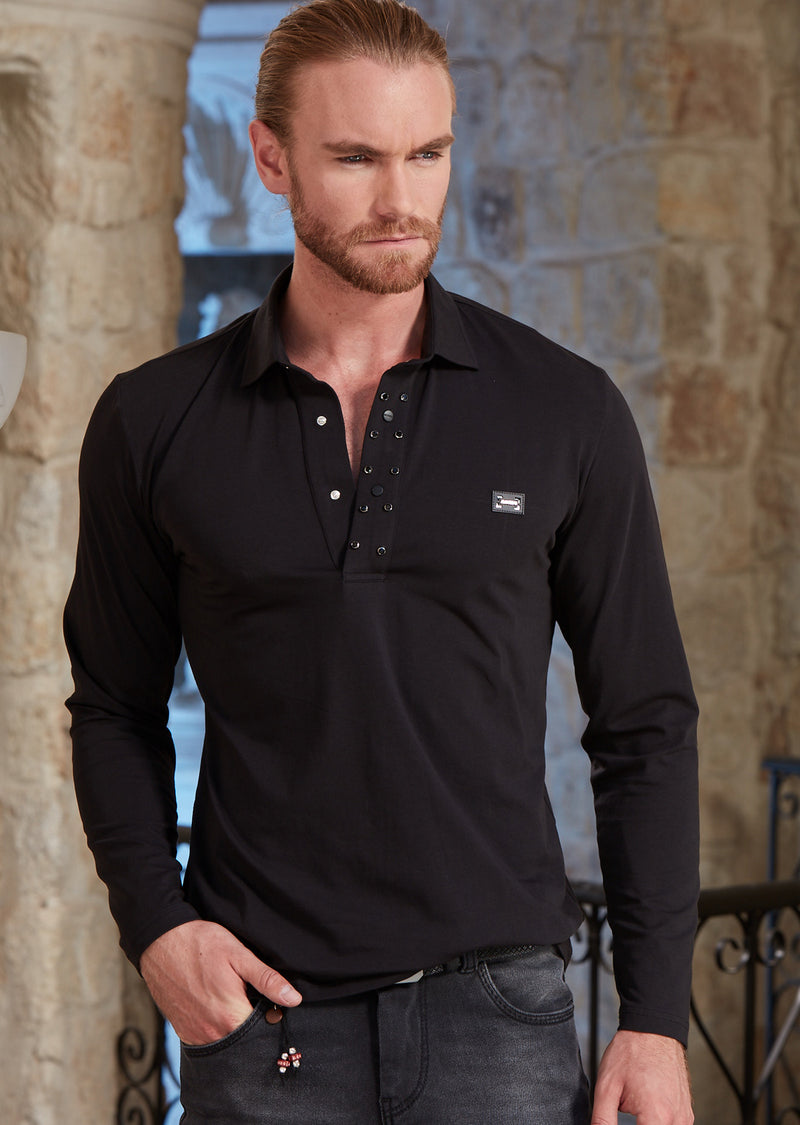 Black Rhinestone Studded Polo
