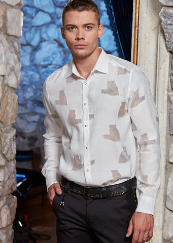 "White Sheer ""Paolo"" Long Sleeve Shirt"