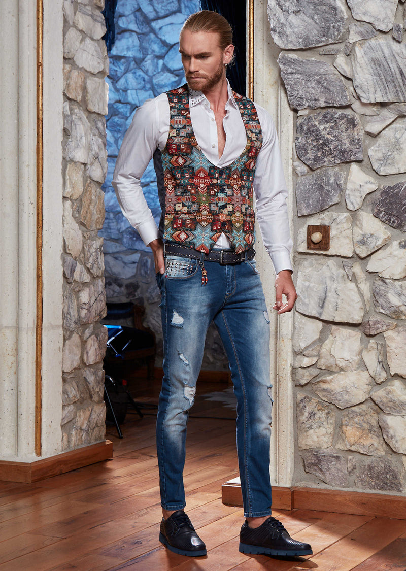 Multi-Color Weaved Oriental Print Vest